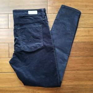 AG Farrah Blue Velvet High Rise Skinny Pants 32R